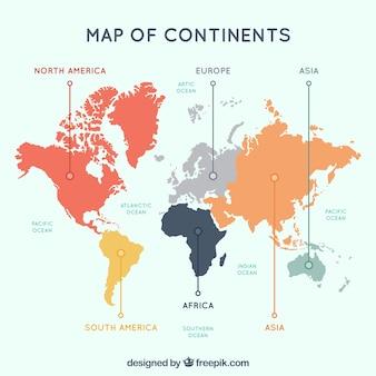 Veelkleurige kaart van continenten