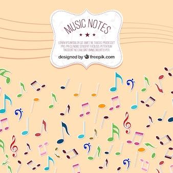 Veelkleurige muziek notities achtergrond