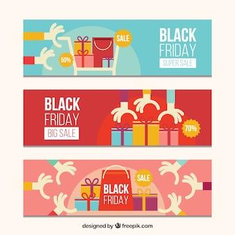 Veelkleurige zwarte vrijdag banners