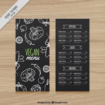 Veganistisch menu van het restaurant in het bord stijl