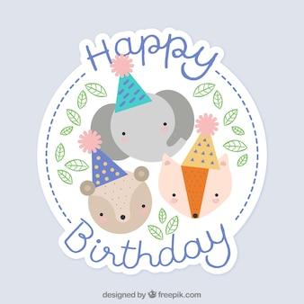 Verjaardag achtergrond met dieren