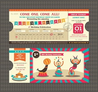 Verjaardagskaart met Circus Ticket pas ontwerp Sjabloon