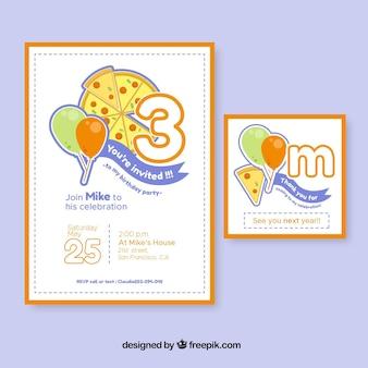 Verjaardagsuitnodigingen met pizza