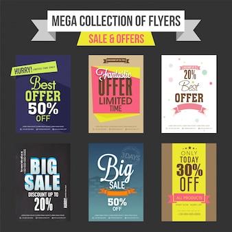 Verkoop en korting biedt sjablonen, banners of flyers design collectie