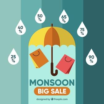 Verkoopachtergrond van moesson
