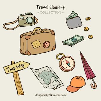 Verpakking van reiselementen tekeningen