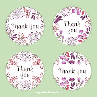 Verpakking van vier bloemenwaterverf dank u stickers