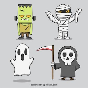 Verpakking van vier Halloween karakters
