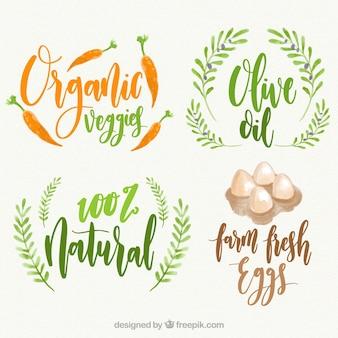 Verpakking van vier organische voedseletiketten in aquarelstijl