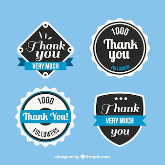 Verpakking van vier vintage dank u stickers