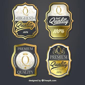 Verpakking van vier vintage premium labels