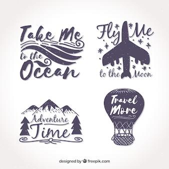 Verpakking van vier vintage reis stickers