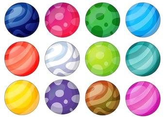 Verscheidenheid aan ballen met unieke patronen