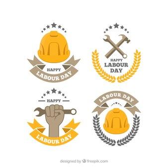 Verscheidenheid van de arbeid dag stickers in plat design
