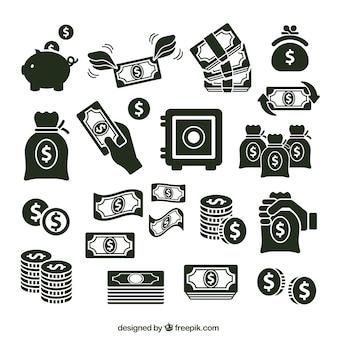 Verscheidenheid van geld pictogrammen