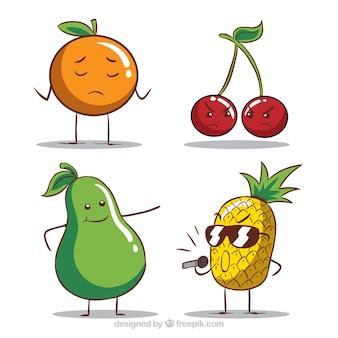 Verscheidenheid van grappige fruitkarakters