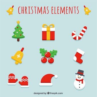 Verscheidenheid van kerstartikelen in plat design