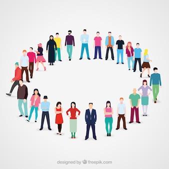 Verscheidenheid van platte mensen in de cirkel