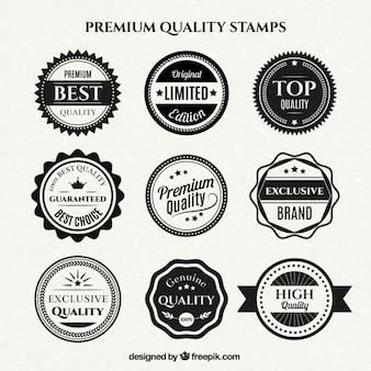 Verscheidenheid van vintage wit en zwart kwaliteit badges