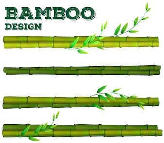 Verschillende bamboe ontwerpen met stam en bladeren