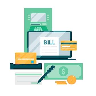 Verschillende betaalmethoden met plat ontwerp