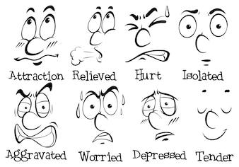 Verschillende gezichtsuitdrukkingen met woorden