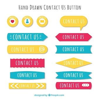 Verschillende hand getekende contact knoppen