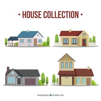 Verschillende huizen in vlakke bouwvorm