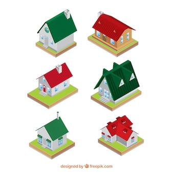 Verschillende isometrisch huizen met fantastische ontwerpen