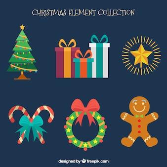 Verschillende Kerst elementen in vlakke stijl