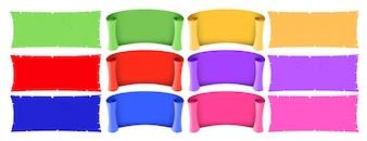 Verschillende ontwerpen van banners in verschillende kleuren