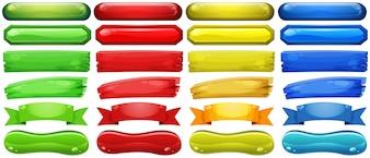 Verschillende ontwerpen van knoppen in vier kleuren