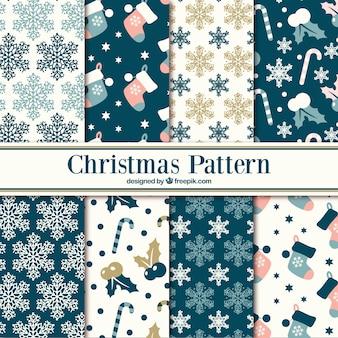 Verschillende patronen van sneeuwvlokken en kerst ornamenten