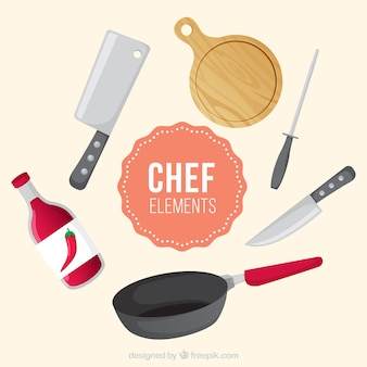 Verschillende platte chef-kok items