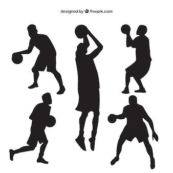 Verschillende silhouetten van basketbalspelers