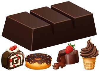 Verschillende soorten chocolade dessert