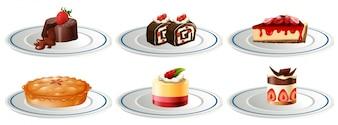Verschillende soorten desserts op borden illustratie