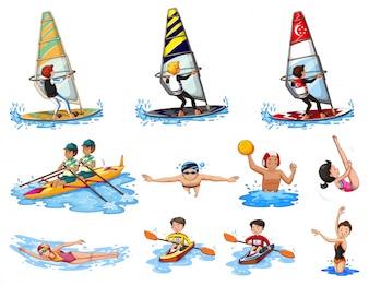 Verschillende soorten watersport illustratie