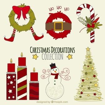 Verschillende traditionele kerst decoratie