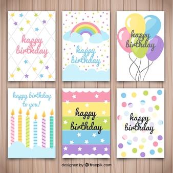 Verschillende verjaardagskaarten met mooie ontwerpen