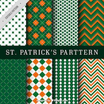 Verzameling van abstracte dag van heilige patrick patronen