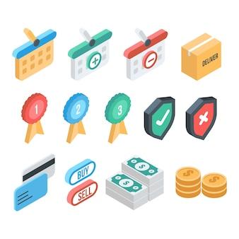 Verzameling van e-commerce elementen in isometrische stijl