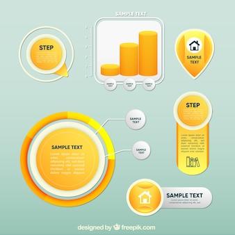 Verzameling van gele infografische elementen
