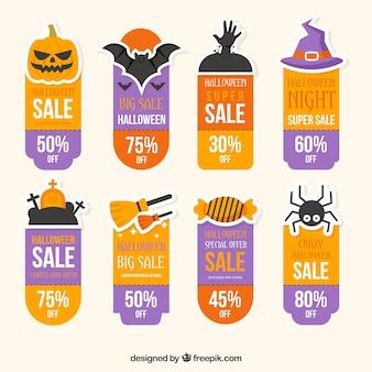 Verzameling van hallowen verkoop stickers in plat ontwerp