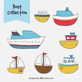 Verzameling van handgetekende boten