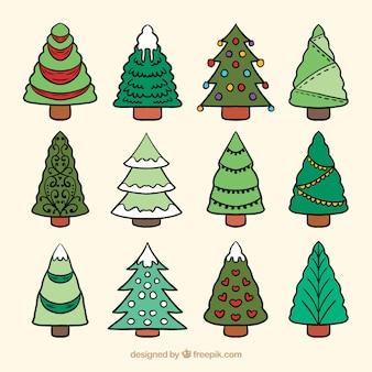 Verzameling van handgetekende kerstbomen