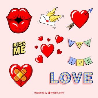 Verzameling van handgetekende liefdeelementen