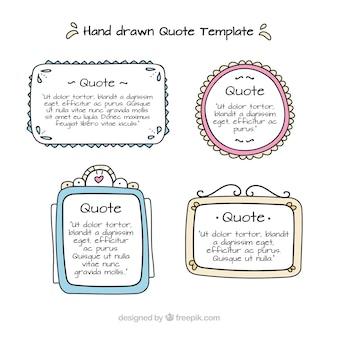 Verzameling van handgetekende sjablonen voor citaten