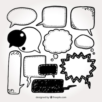 Verzameling van handgetekende spraakbel