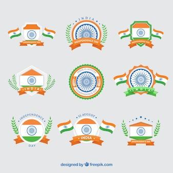 Verzameling van India onafhankelijkheidsdag vintage insignes
